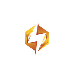 creative abstract hexagon thunder logo vector image