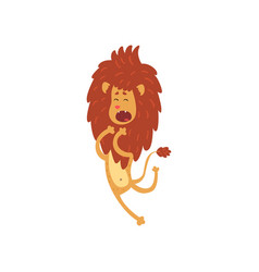 Cute funny lion cub cartoon character jumping vector