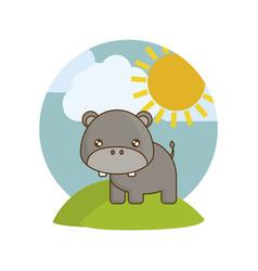 Cute hippopotamus animal in landscape vector