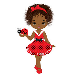 Cute little african american girl vector