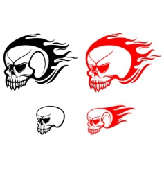 danger skulls with flames vector image vector image