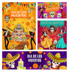 day dead altar sugar skulls dancing skeletons vector image