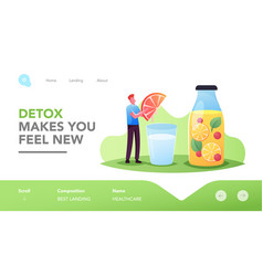 Detox dieting landing page template tiny male vector