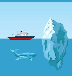 Diesel icebreaker ship iceberg and whale vector