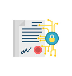 Digital contract flat icon vector