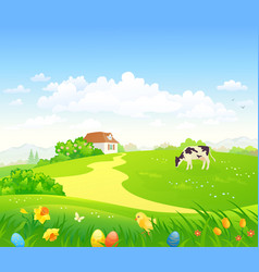 Easter country scenery vector