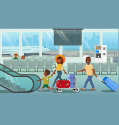 family carrying baggage in airport cartoon vector image