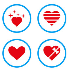 Favourites heart rounded icons vector
