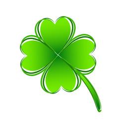 Four leaf green clover hand draw lucky vector