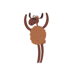 funny brown sheep character standing on two legs vector image vector image