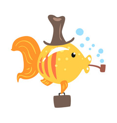 Funny cartoon golden fish in a hat with briefcase vector
