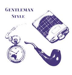 Getleman vintage stuff set in grunge style vector