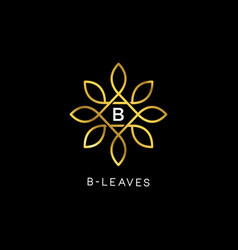 golden floral leaves initial letter type b logo vector image