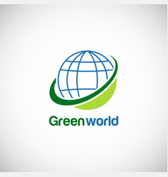 Green world globe environment logo vector
