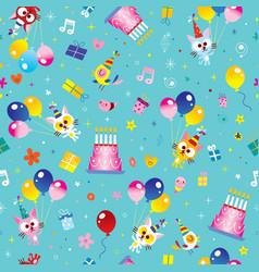 happy birthday kids seamless pattern vector image