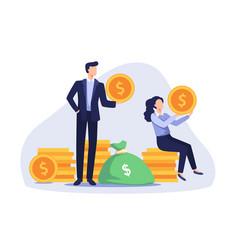 happy business people earning money vector image