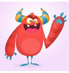 happy cool cartoon fat monster vector image