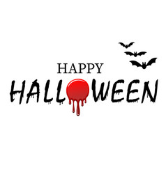 happy halloween text bats black scary design vector image
