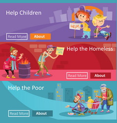 Help for homeless and poor people vector