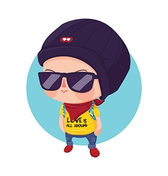 Hipster Boy Cartoon Character vector image