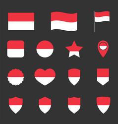 Indonesia flag icon set flag republic vector