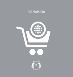 International shopping flat icon vector