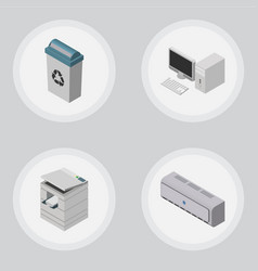 Isometric cabinet set of scanner garbage vector