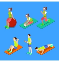 Isometric People Exercising at the Gym vector image