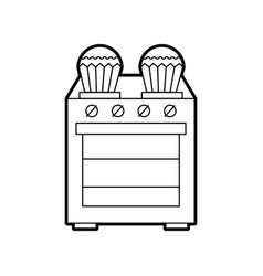 Kitchen cupcake over stove cooking vector