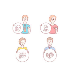 Location quick tips and face accepted icons vector