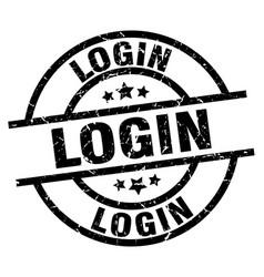 Login round grunge black stamp vector