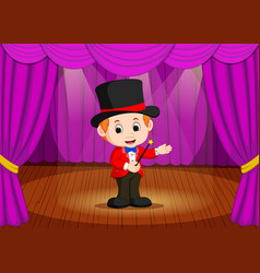 Magician performing on a stage vector