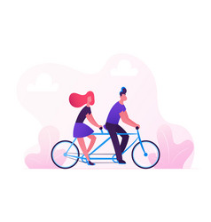 man and woman driving tandem bicycle in city park vector image