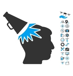 Megaphone impact head icon with air drone tools vector