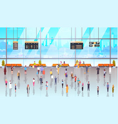 Modern airport interior people passengers with vector