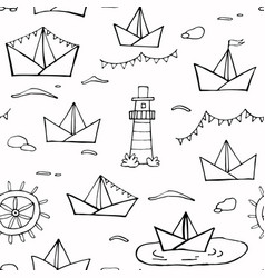 nautical seamless pattern black and white vector image