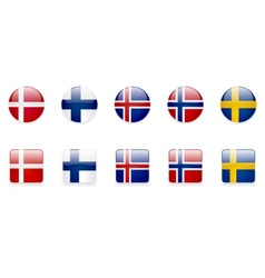 Nordic Countries Flags Icon Set vector