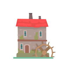 Old stone house and wooden water wheel ancient vector