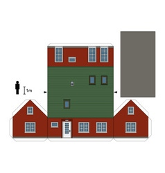 Paper model of a red house vector