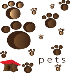 Pets and animals foot steps and traces vector