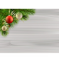 Pine tree branch christmas balls white wood vector