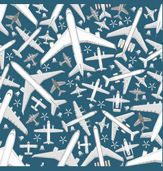plane seamless pattern aircraft airplane jet vector image