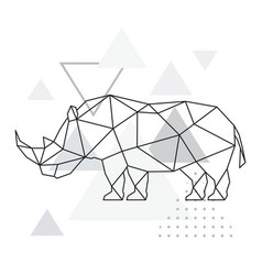 polygonal rhino on abstract background vector image