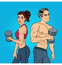 Pop Art Athletic Man and Woman Exercising vector image vector image