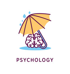 psychology logo design with human brain under vector image