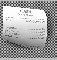 Realistic shop receipt paper payment bill check vector