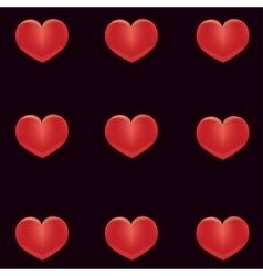 Red hearts on a black background vector