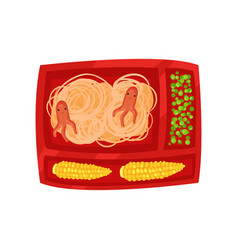 red lunch box with tasty food spaghetti with vector image