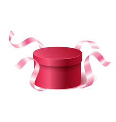 Red pink closed 3d realistic round gift box with vector