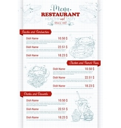 Restaurant vertical scetch menu vector image